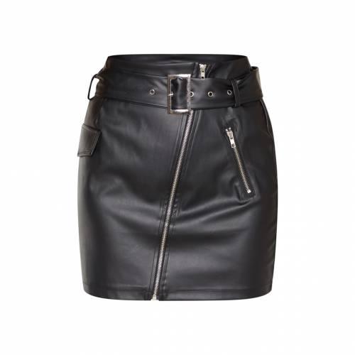 R_FAMOUS ベルト レディースファッション ボトムス スカート 【 Prettylittlething Tall Belt Detail Pu Mini Skirt 】 Black