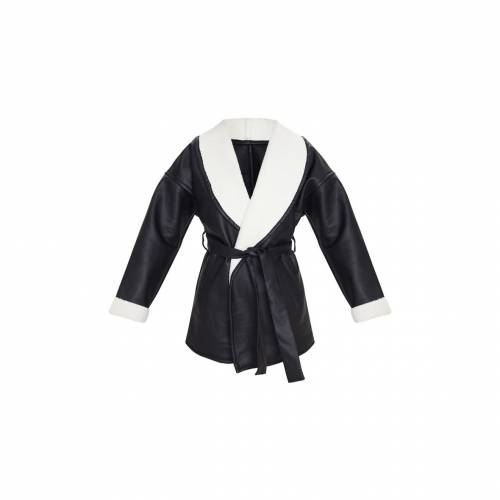 GRAND スリーブ 【 Prettylittlething Aviator Pu Tie Waist Long Sleeve Jacket 】 Black