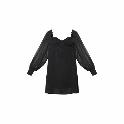4FASHION ドレス 黒 ブラック 【 BLACK 4FASHION PRETTYLITTLETHING DOBBY MESH CUP DETAIL SMOCK DRESS 】 レディースファッション ドレス