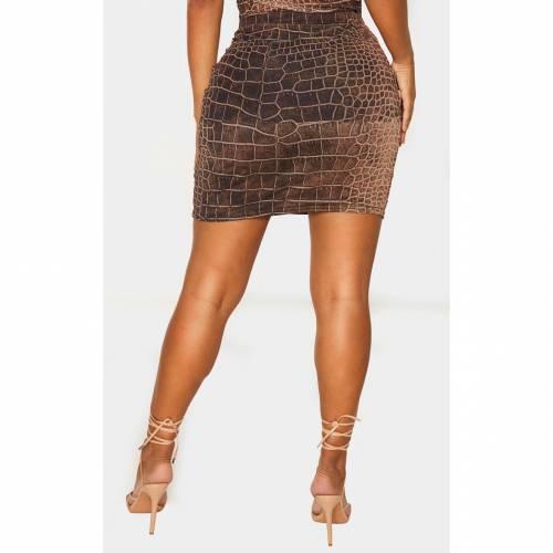 PASSIOND レディースファッション ボトムス スカート 【 Prettylittlething Shape Croc Print Bodycon Skirt 】 Brown