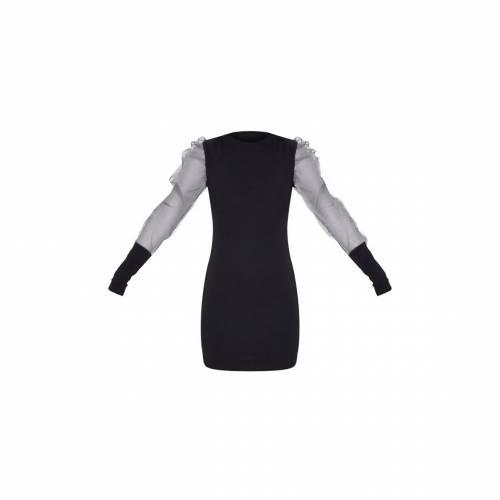STREETWI スリーブ ハイ ドレス 黒 ブラック 【 SLEEVE BLACK STREETWI PRETTYLITTLETHING ORGANZA PUFF HIGH NECK BODYCON DRESS 】 レディースファッション ドレス
