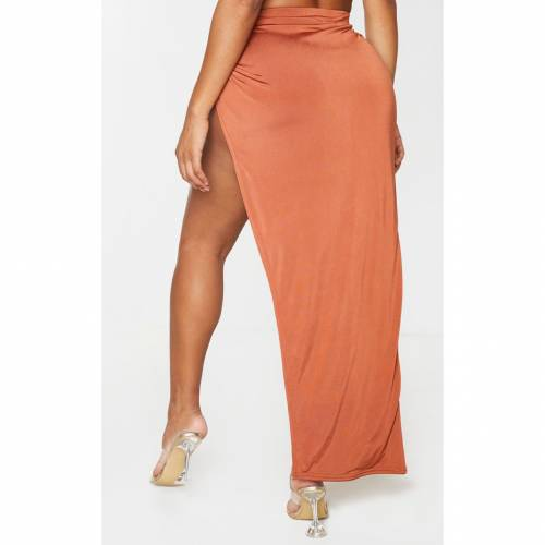 SILVERGIRL レディースファッション ボトムス スカート 【 Prettylittlething Shape Slinky Knot Side Midi Skirt 】 Terracotta