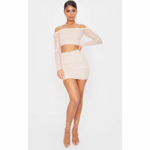 GLOBALLE レディースファッション ボトムス スカート 【 Prettylittlething Mesh Ruched Side Skirt 】 Nude