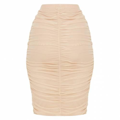 GLOBALLE レディースファッション ボトムス スカート 【 Prettylittlething Mesh Ruched Midi Skirt 】 Nude