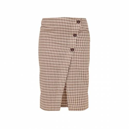 4FASHION レディースファッション ボトムス スカート 【 Prettylittlething Petite Checked Button Midi Skirt 】 Brown