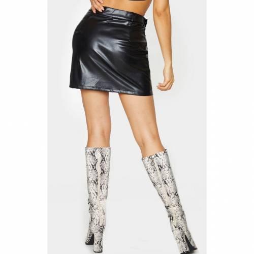 4FASHION バックル レディースファッション ボトムス スカート 【 Prettylittlething Tall Pu Buckle Detail Mini Skirt 】 Black