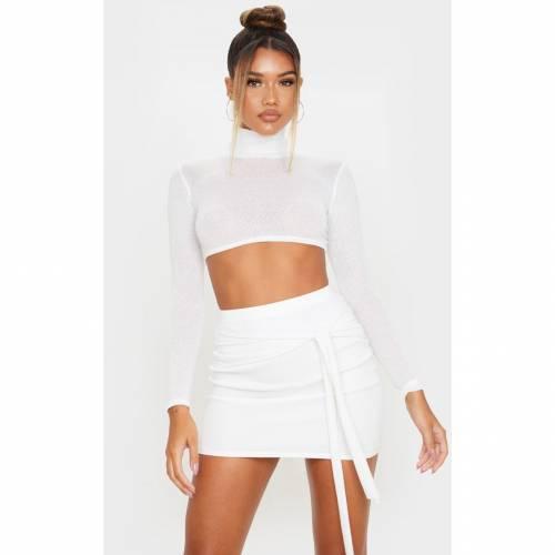 GLOBALLE ニット レディースファッション ボトムス スカート 【 Prettylittlething Lightweight Knit Tie Front Mini Skirt 】 Cream
