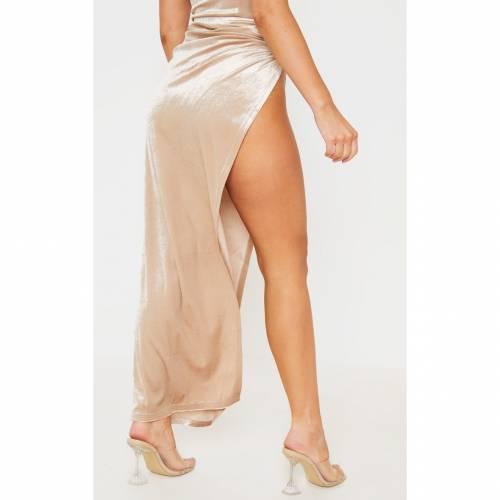 4FASHION レディースファッション ボトムス スカート 【 Prettylittlething Velvet Tie Split Side Midi Skirt 】 Cream