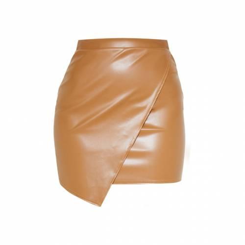 CLOTHP レザー ラップ 【 WRAP TAUPE FAUX LEATHER MINI SKIRT 】 レディースファッション ボトムス スカート