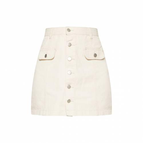 COSMIC ミッド レディースファッション ボトムス スカート 【 Prettylittlething Mid Wash Pocket Detail Button Through Skirt 】 Ecru