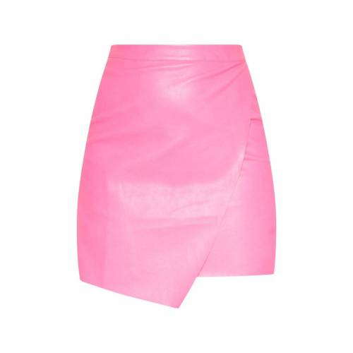 CLOTHP カーキ レザー ラップ 【 WRAP KHAKI FAUX LEATHER MINI SKIRT HOT PINK 】 レディースファッション ボトムス スカート