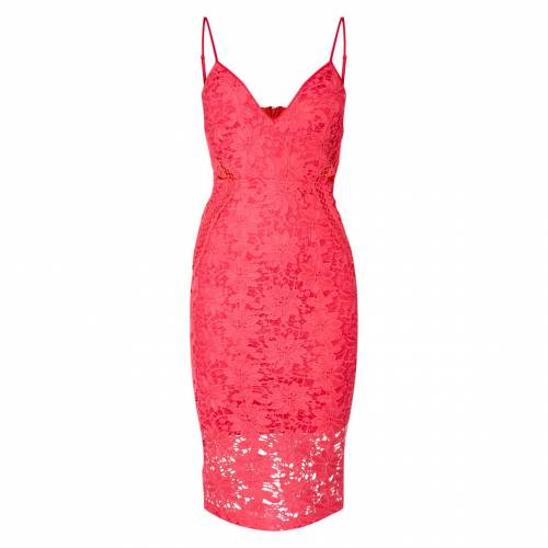 PURE ピュア ドレス ピンク 【 PINK PURE PRETTYLITTLETHING LACE STRAPPY CUT OUT MIDI DRESS HOT 】 レディースファッション ドレス