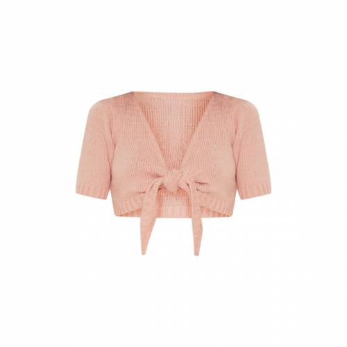 P_AND_L クロップ レディースファッション トップス 【 Prettylittlething Tie Front Knitted Crop Top 】 Blush