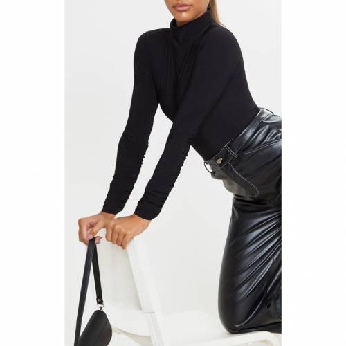 FASHION スリーブ ハイ レディースファッション トップス 【 Prettylittlething Slinky Ruched Sleeve High Neck Bodysuit 】 Black