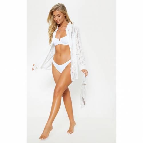 EMSONS レディースファッション トップス シャツ ブラウス 【 Prettylittlething Broderie Anglaise Beach Shirt 】 White