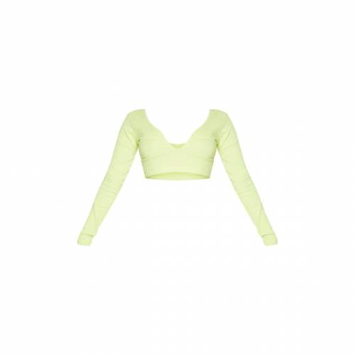 ZERO クロップCROP ZERO PRETTYLITTLETHING SHAPE THICK RIB CUP DETAIL TOP LIMEレディースファッション トップスdCBQxoerWE