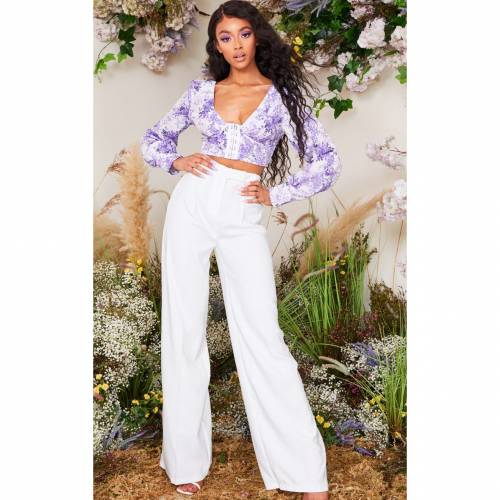 4FASHION スリーブ クロップ レディースファッション トップス 【 Prettylittlething Porcelain Print Hook And Eye Plunge Long Sleeve Crop Top 】 Lilac