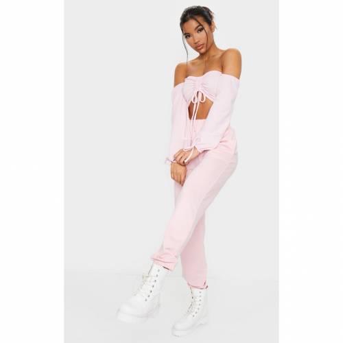 VIVATRAD スリーブ クロップ レディースファッション トップス 【 Prettylittlething Ruched Detail Bardot Long Sleeve Crop Top 】 Baby Pink