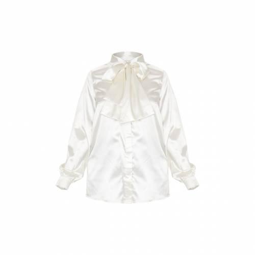 4FASHION サテン レディースファッション トップス シャツ ブラウス 【 Prettylittlething Petite Oversized Bow Satin Shirt 】 Cream