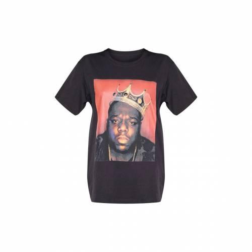 COLLECTI レディースファッション トップス シャツ ブラウス 【 Prettylittlething Biggie Crown Print T Shirt 】 Black