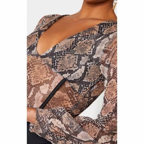 ABOVE_BE レディースファッション トップス 【 Prettylittlething Mesh Leopard Print Caged Detail Bodysuit 】 Nude