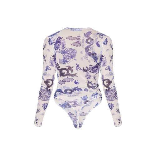 PASSIOND スリーブ レディースファッション トップス 【 Prettylittlething Oriental Print Mesh Long Sleeve Bodysuit 】 White