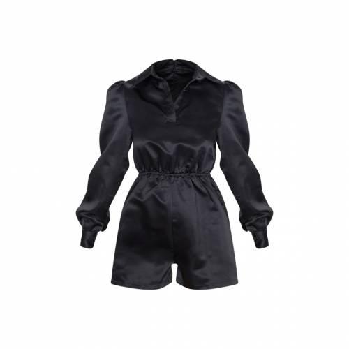 4FASHION サテン レディースファッション トップス 【 Prettylittlething Bonded Satin Shirt Playsuit 】 Black