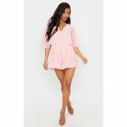 4FASHION レディースファッション トップス 【 Prettylittlething Cape Pleated Detail Playsuit 】 Dusty Pink