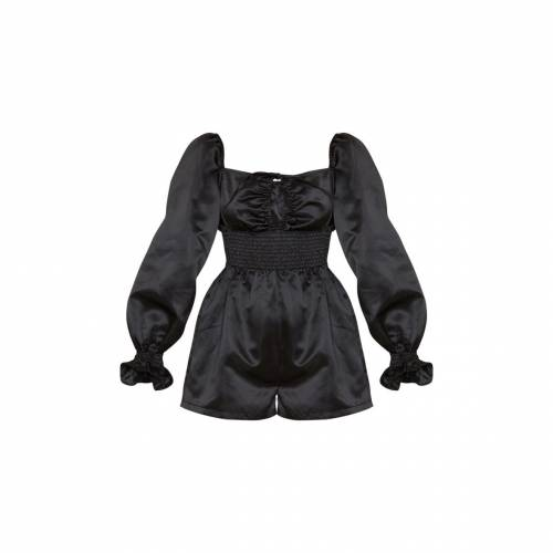 4FASHION サテン スリーブ レディースファッション トップス 【 Prettylittlething Floral Print Satin Puff Sleeve Playsuit 】 Black
