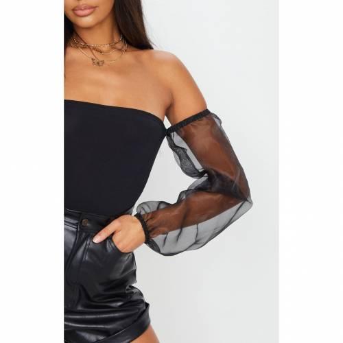 FASHPOIN スリーブ レディースファッション トップス 【 Prettylittlething Slinky Sheer Puff Sleeve Bardot Bodysuit 】 Black