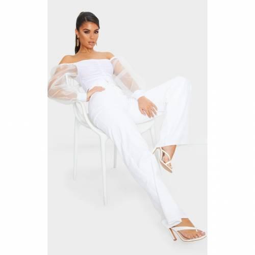 SNAPA スリーブ クロップ レディースファッション トップス 【 Prettylittlething Slinky Sheer Organza Puff Sleeve Bardot Crop Top 】 White