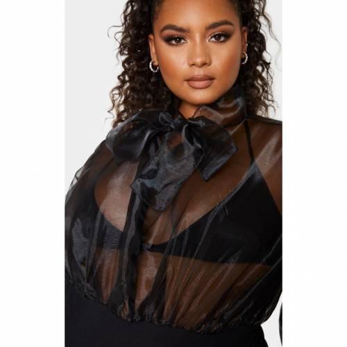 FASHPOIN レディースファッション トップス 【 Prettylittlething Plus Organza Tie Neck Bodysuit 】 Black