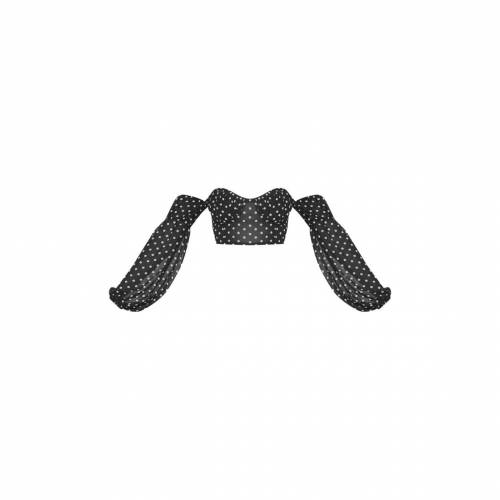 4FASHION クロップ レディースファッション トップス 【 Prettylittlething Polka Printed Mesh Sweetheart Bardot Crop Top 】 Black