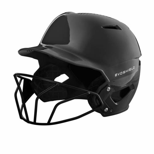 ファッションブランド 大好評です 野球 EVO SHIELD バッティング 新作 ヘルメット ハイ 黒色 ブラック メンズ GLOSS SOFTBALL FINISH BATTING HELMET BLACK WITH FACEMASK XVT HIGH