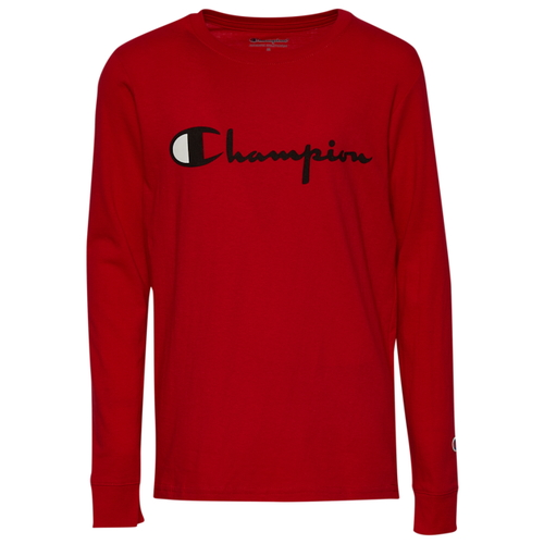 チャンピオン CHAMPION L S 長袖 ロングスリーブ スクリプト シャツ GS(GRADESCHOOL) ジュニア キッズ HERITAGE LS SCRIPT T GSGRADESCHOOL マタニティ トップス Tシャツ カットソー