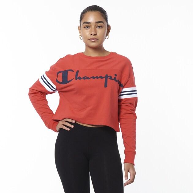 チャンピオン CHAMPION スリーブ シャツ WOMENS レディース CROPPED VARSITY LONG SLEEVE T トップス レディースファッション カットソー Tシャツ
