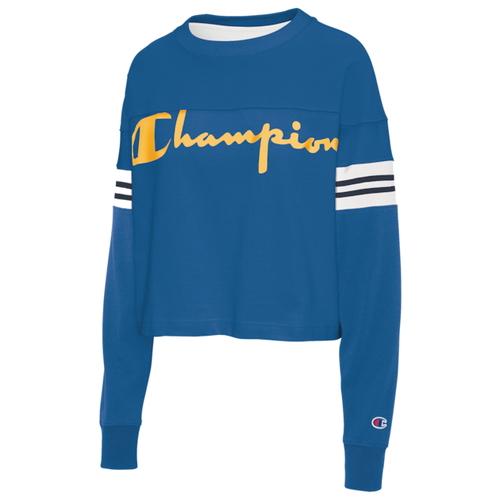 チャンピオン CHAMPION スリーブ シャツ WOMENS レディース CROPPED VARSITY LONG SLEEVE T トップス レディースファッション Tシャツ カットソー 送料無料