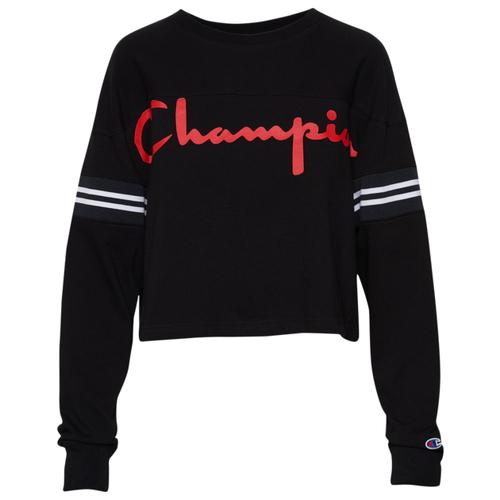 チャンピオン CHAMPION スリーブ シャツ WOMENS レディース CROPPED VARSITY LONG SLEEVE T カットソー トップス Tシャツ レディースファッション 送料無料