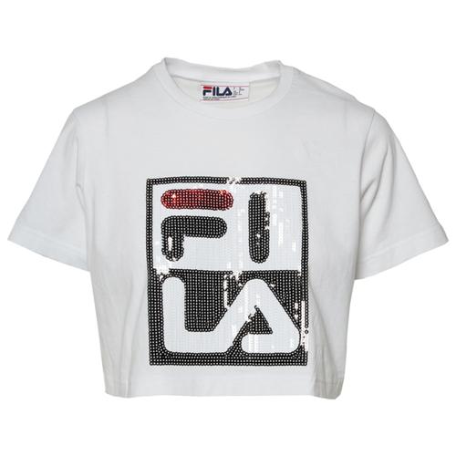 フィラ FILA クロップ シャツ WOMENS レディース AVA SQUIN CROP T カットソー トップス レディースファッション Tシャツ