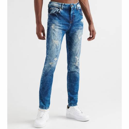 DECIBEL デシベル 黒 ブラック 藍色 インディゴ 【 BLACK DECIBEL PIKE SKINNY RIP FIT JEANS MEDIUM INDIGO 】 メンズファッション ズボン パンツ