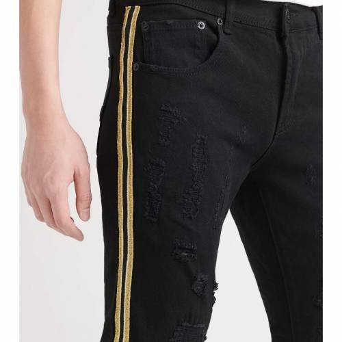 DECIBEL デシベル 黒 ブラック 【 BLACK DECIBEL 5 POCKET JEANS WITH SIDE TAPING 】 メンズファッション ズボン パンツ