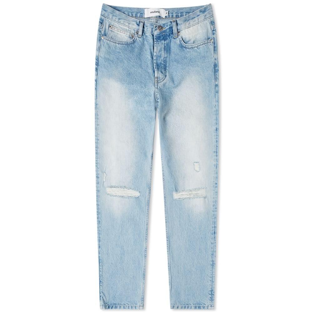 SOULLAND ビンテージ ヴィンテージ 青 ブルー 【 VINTAGE BLUE SOULLAND ERIK DISTRESSED JEAN 】 メンズファッション ズボン パンツ