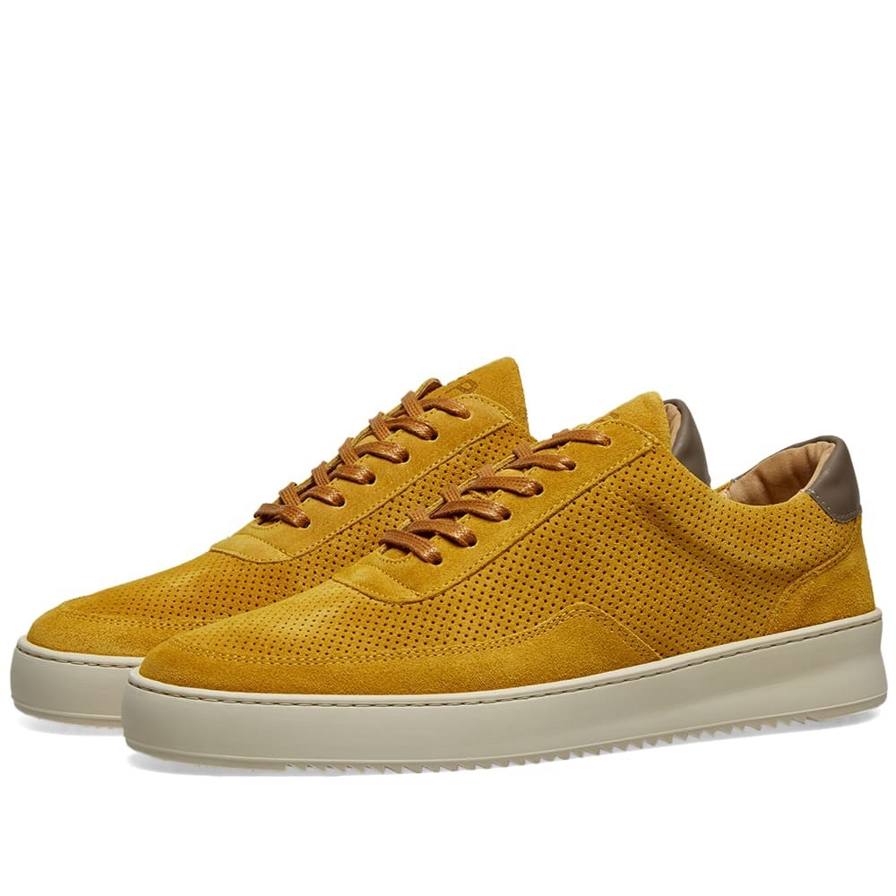 FILLING PIECES スエード スウェード スニーカー 【 LOW MONDO RIPPLE SUEDE PERFORATED SNEAKER MUSTARD 】 メンズ 送料無料