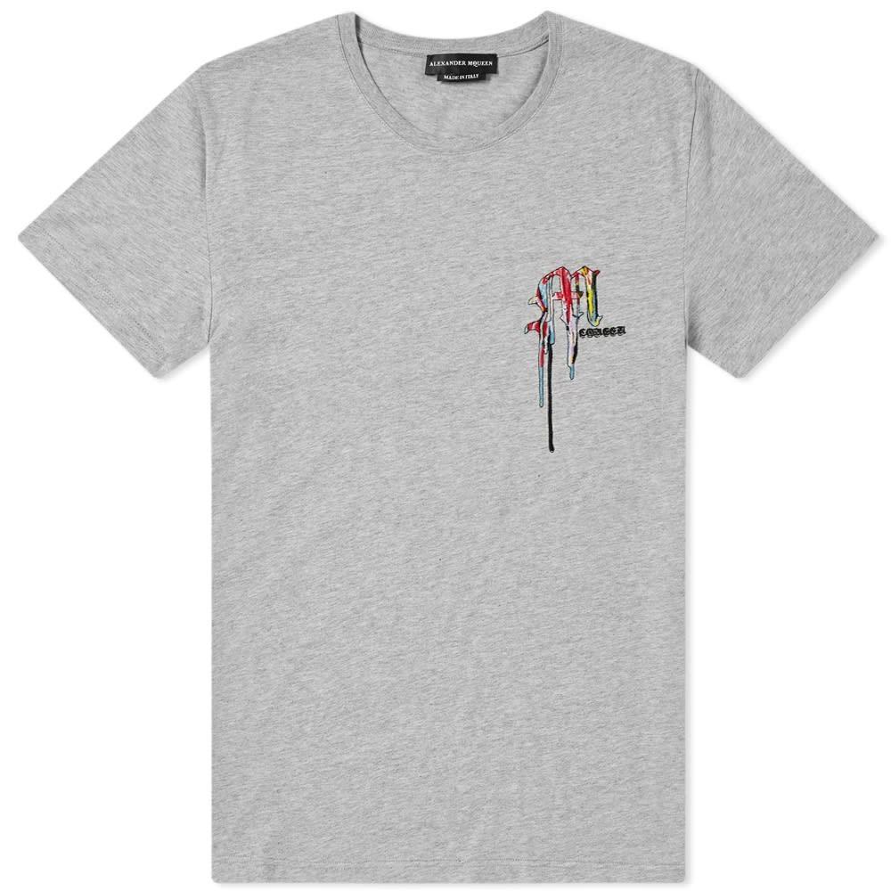 【スーパーセール中! 6/11深夜2時迄】アレキサンダーマックイーン ALEXANDER MCQUEEN ロゴ Tシャツ メンズファッション トップス カットソー メンズ 【 Multi Coloured Embroidered Logo Tee 】 Pale Grey & Mix