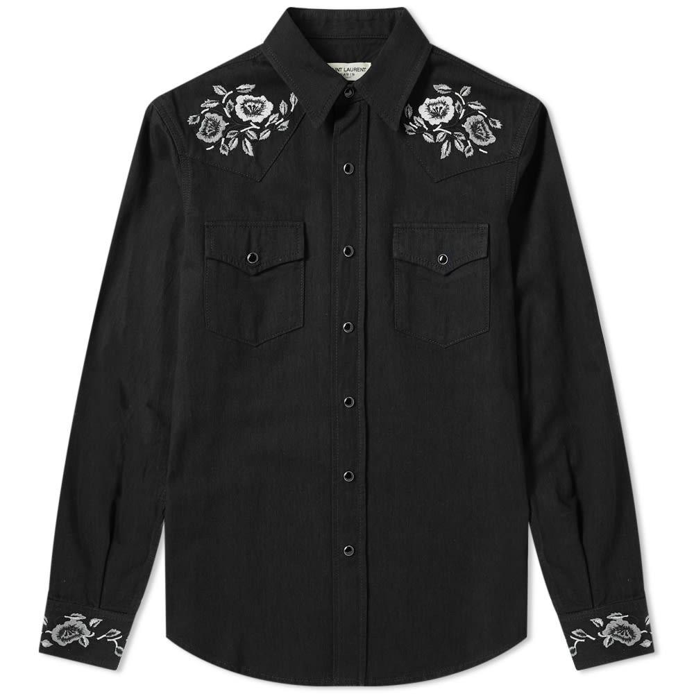 SAINT LAURENT 【 FLORAL EMBROIDERED WESTERN SHIRT BLACK RINSE 】 メンズファッション トップス カジュアルシャツ 送料無料