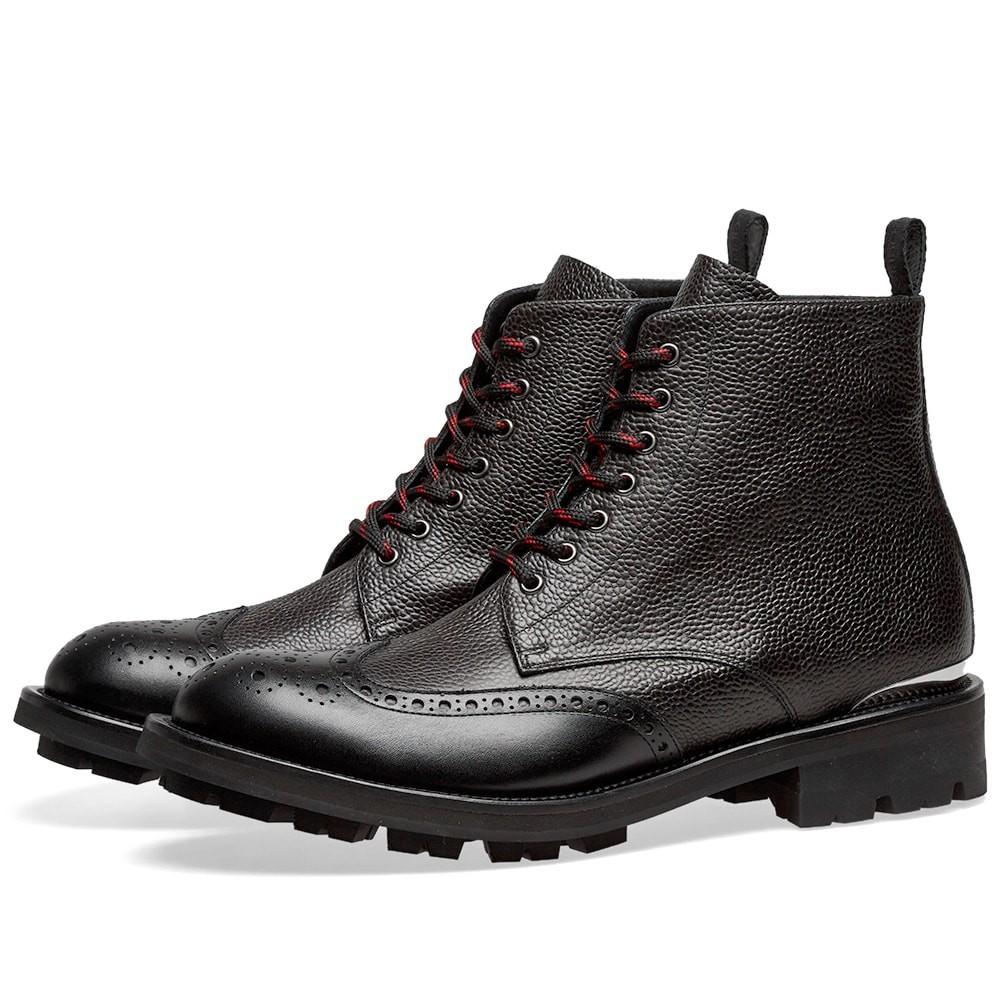 アレキサンダーマックイーン ALEXANDER MCQUEEN ブーツ メンズ 【 Pebble Grain Commando Sole Boot 】 Black & Silver