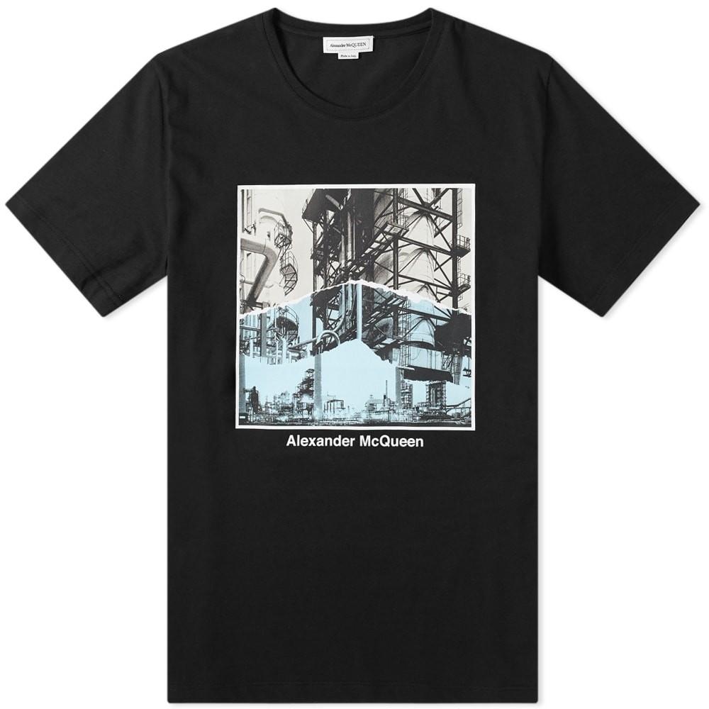 【スーパーセール商品 12/4-12/11】アレキサンダーマックイーン ALEXANDER MCQUEEN & 【 SLOGAN PRINT TEE BLACK MULTI 】 メンズファッション トップス Tシャツ カットソー 送料無料