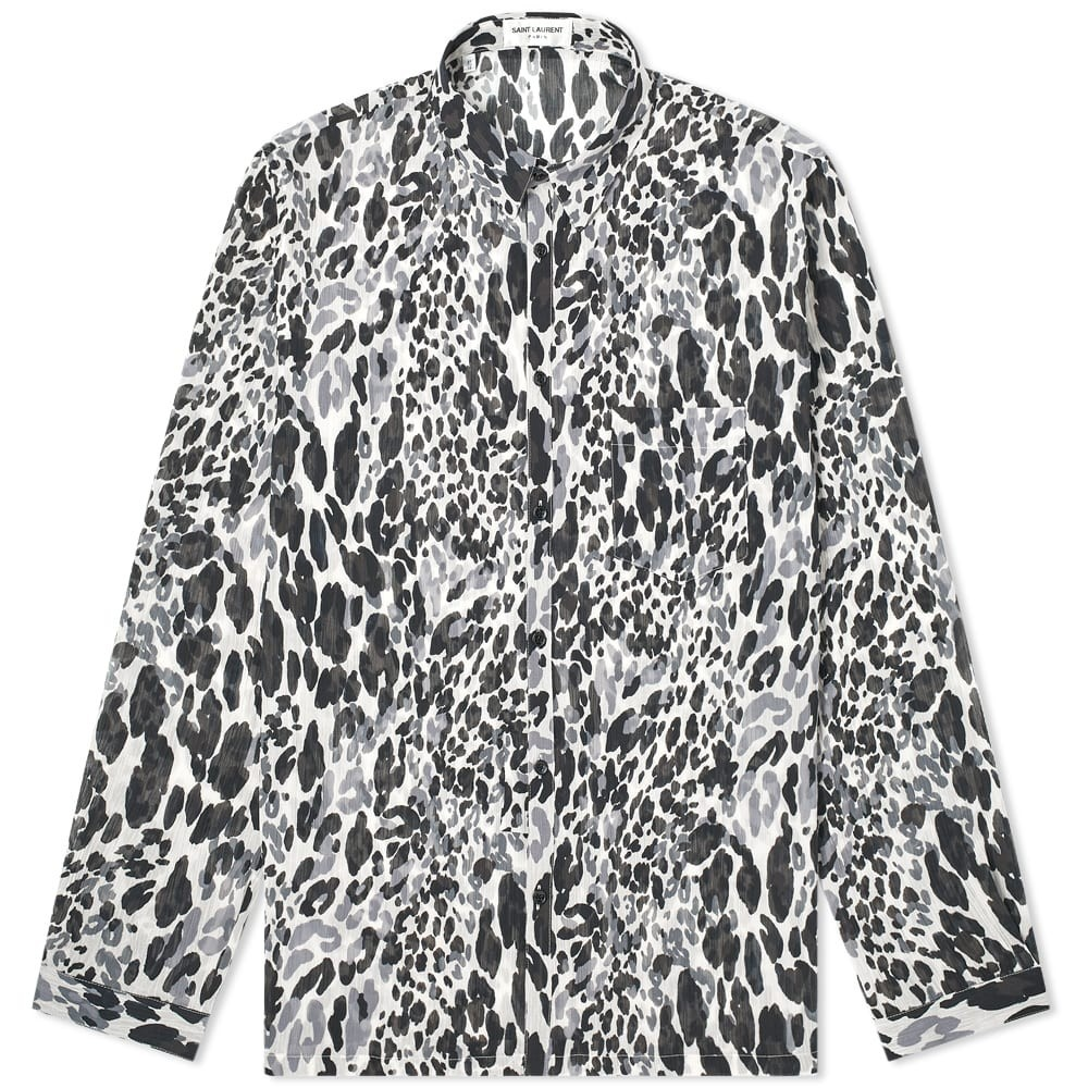 SAINT LAURENT & 【 FLURO LEOPARD PRINT SHIRT BLACK GREY 】 メンズファッション トップス カジュアルシャツ 送料無料