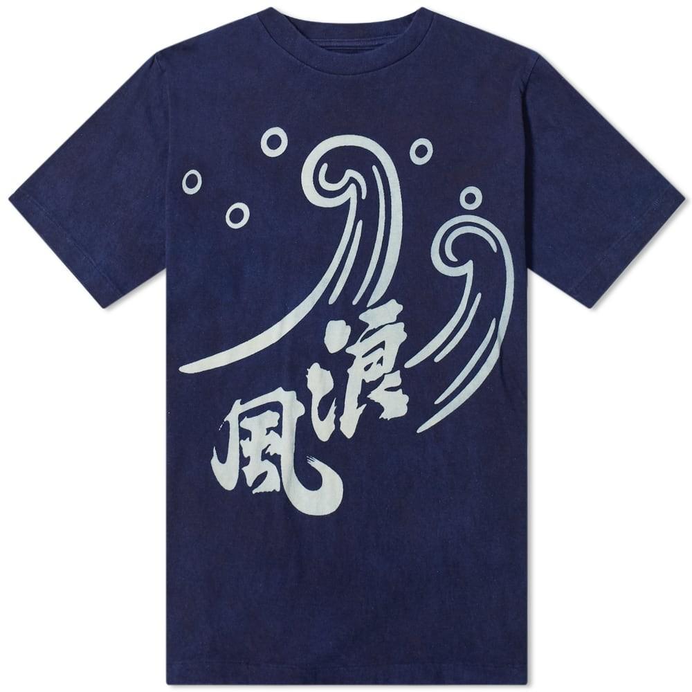 BLUE BLUE JAPAN Tシャツ メンズファッション トップス カットソー メンズ 【 Namikaze Pattern Bassen Tee 】 Indigo