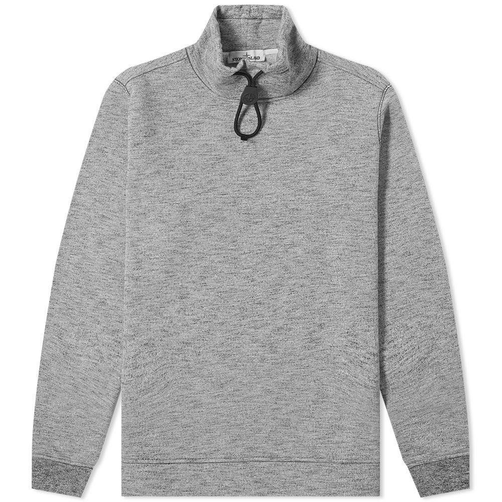 STONE ISLAND フリース メンズファッション トップス スウェット トレーナー メンズ 【 Funnel Neck Drawstring Fleece 】 Grey Melange